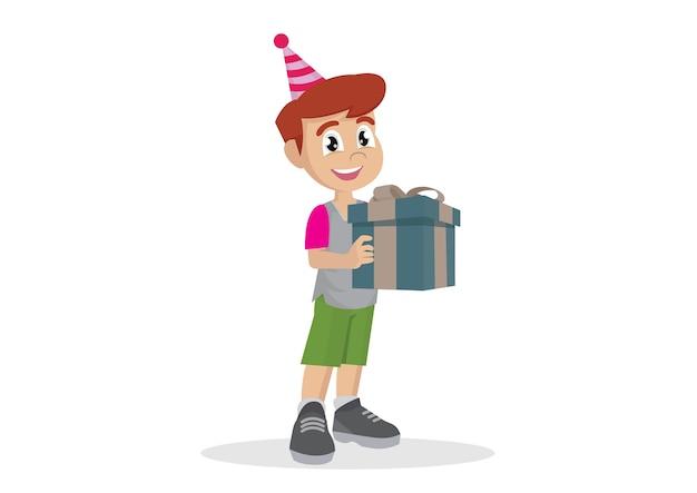 Garotinho segurando uma caixa de presente.