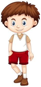 Garotinho vestindo shorts vermelhos