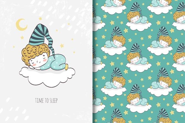 Garotinhos dormindo na nuvem