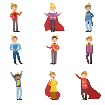 Garotinhos vestidos como príncipes de conto de fadas