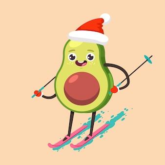 Garoto abacate bonito no esqui de personagem de desenho animado de chapéu de papai noel.