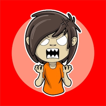 Garoto adesivo que estava muito zangado porque sempre foi intimidado