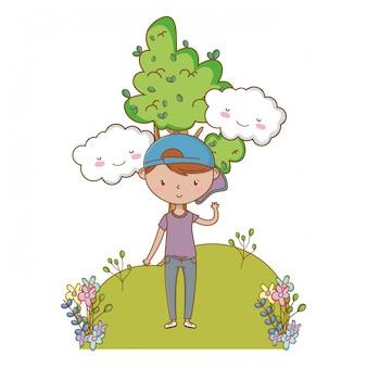 Garoto adolescente dos desenhos animados