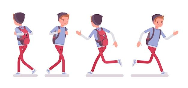 Garoto adolescente em pose de caminhada e corrida
