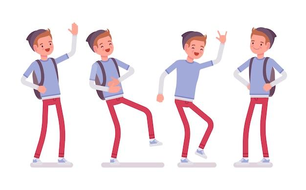 Garoto adolescente em pose de pé, emoções positivas