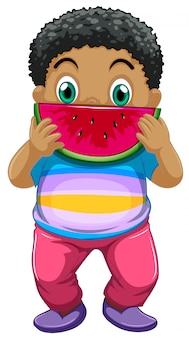 Garoto africano comendo melancia
