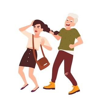 Garoto agarrando e puxando o cabelo da garota e rindo. conflito entre crianças ou adolescentes, abuso escolar ou intimidação. personagens de desenhos animados isolados no fundo branco. ilustração em vetor plana colorida.