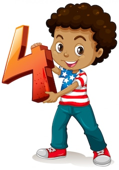 Garoto americano segurando matemática número quatro