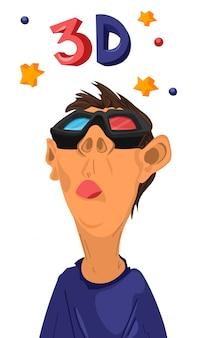 Garoto assistindo filmes em 3d com óculos