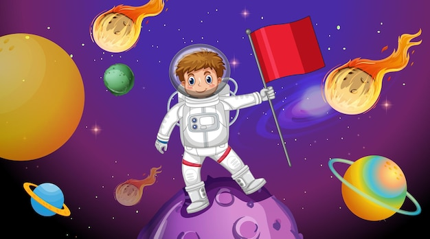 Garoto astronauta parado em uma cena de asteróide no espaço