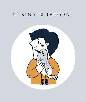 Garoto bonito, abraçando o pássaro. seja gentil com todos. salvar animais, terra, natureza