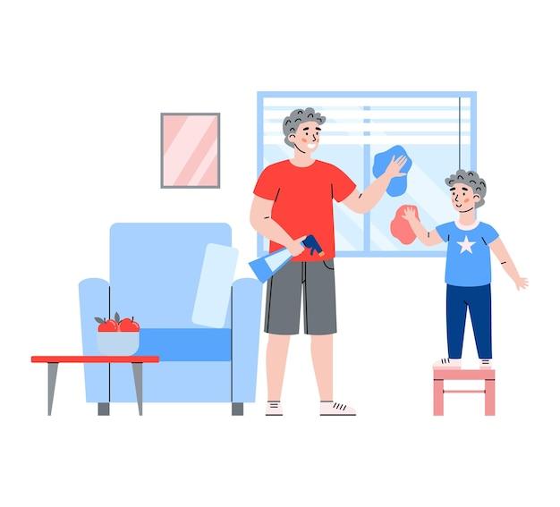 Garoto bonito ajudando o pai a limpar a casa dos desenhos animados.