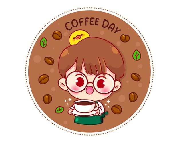 Garoto bonito barista com avental segurando uma xícara de café com logotipo de personagem de desenho animado
