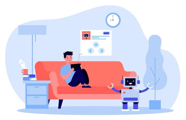 Garoto bonito brincando com um robô em casa ilustração
