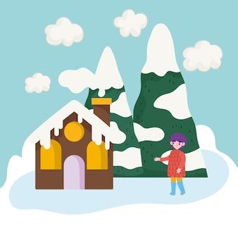 Garoto bonito com casa de roupas de inverno com desenho de paisagem de neve em árvore