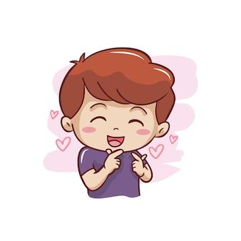 Garoto bonito com sinais de dedo de amor