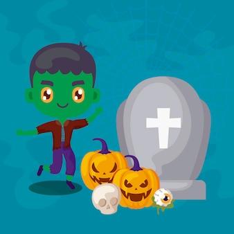 Garoto bonito disfarçado de frankenstein e ícones de halloween