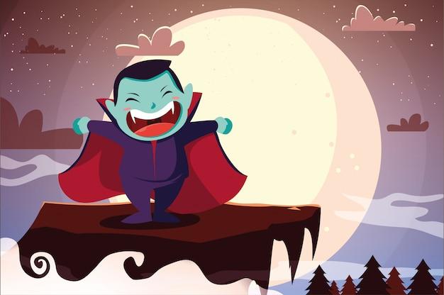 Garoto bonito disfarçado de vampiro em cena de halloween
