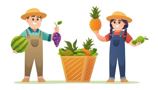 Garoto bonito e garota fazendeiro segurando ilustração de frutas
