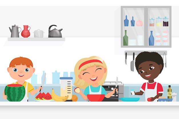 Garoto bonito e garota infantil chef cozinhando na cozinha