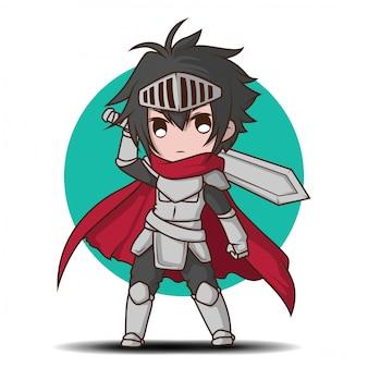 Garoto bonito em desenho de fantasia de cavaleiro