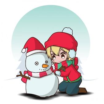 Garoto bonito fazer um boneco de neve