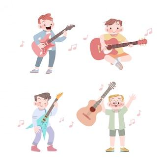 Garoto bonito feliz tocar música guitarra vector ilustração conjunto