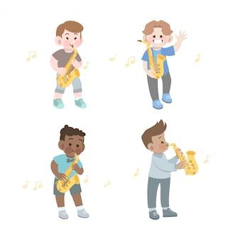 Garoto bonito feliz tocar música saxofone vector conjunto de ilustração