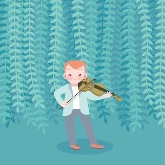 Garoto bonito feliz tocar música violino ilustração vetorial