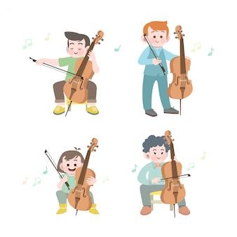 Garoto bonito feliz tocar música violoncelo conjunto de ilustração vetorial
