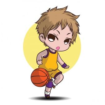 Garoto bonito jogar personagem de desenho animado de basquete.