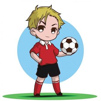 Garoto bonito jogar personagem de desenho animado de futebol