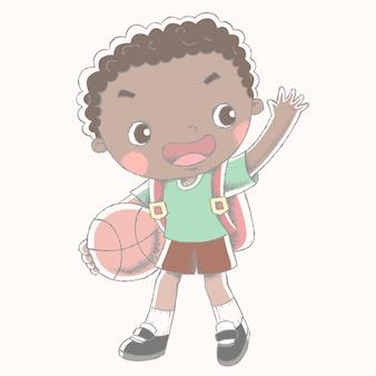 Garoto bonito segurando sua bola de basquete com sua mochila escolar