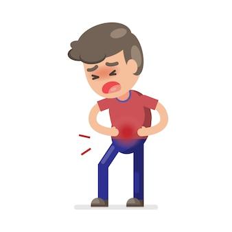 Garoto bonito ter dor de estômago
