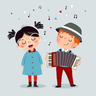 Garoto bonito tocando em um acordeão de instrumento musical e uma menina cantando.