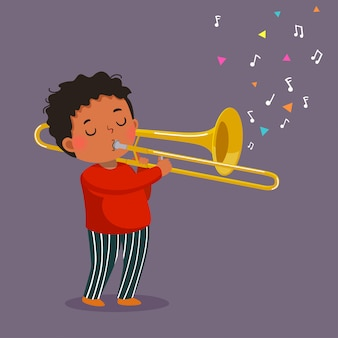 Garoto bonito tocando trombone
