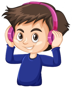Garoto bonito usando fone de ouvido rosa em fundo branco