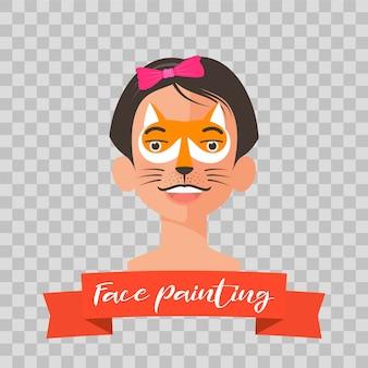 Garoto com ilustração de pintura de rosto de raposa. rosto de criança com maquiagem animal pintado para festa infantil