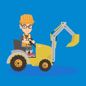 Garoto construtor de caucasiano dirigindo uma escavadeira.
