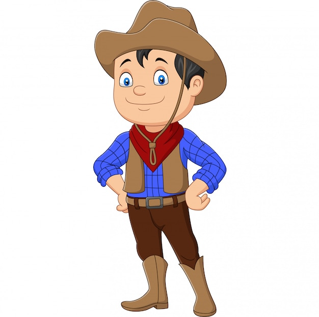 Garoto cowboy dos desenhos animados, vestindo traje ocidental