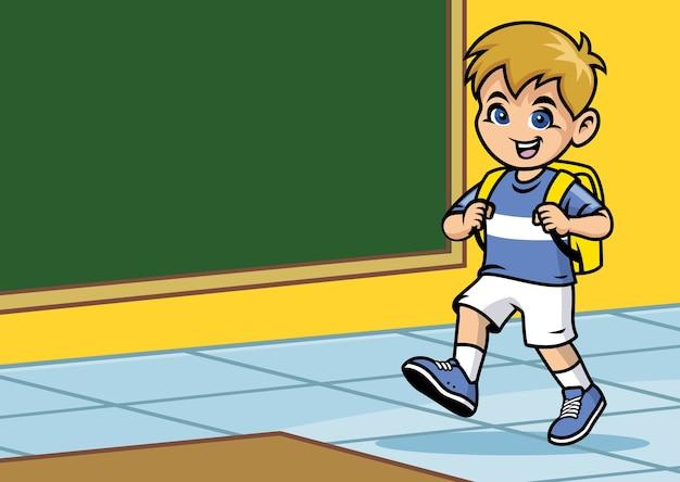 Garoto da escola andando na sala de aula