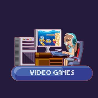 Garoto de desenho animado jogando videogame on-line sobre fundo roxo
