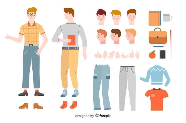 Garoto de desenhos animados para design de movimento
