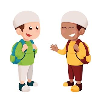 Garoto de escola bonito muçulmano com mochila sorri e conversa com roupas coloridas
