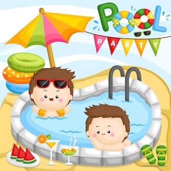 Garoto de festa na piscina