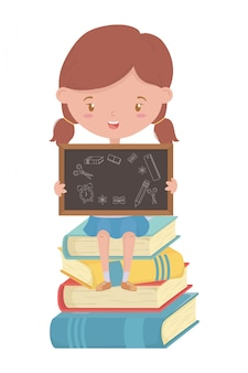 Garoto de garota de desenho de escola