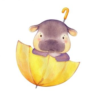Garoto de hipopótamo sentado em um guarda-chuva amarelo e olhando para fora. ilustração de personagem bonito pintado à mão em aquarela. ilustração crianças