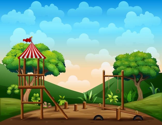 Garoto de madeira playground na natureza