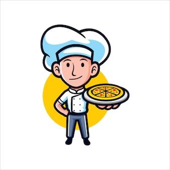 Garoto de pizza dos desenhos animados