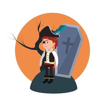 Garoto de traje pirata